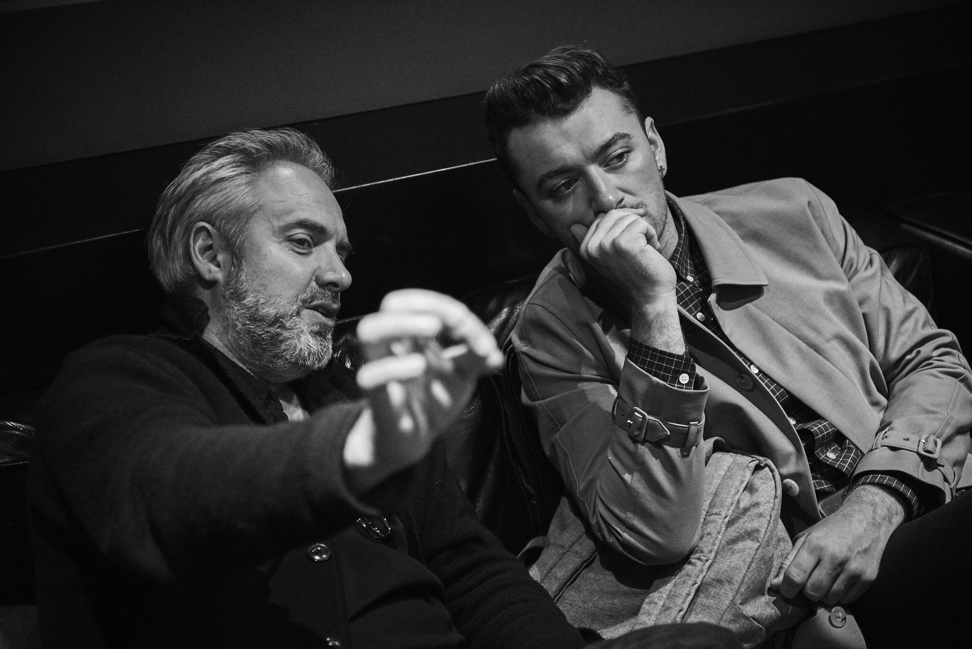 Sam Mendes and Sam Smith at Abbey Road Studios