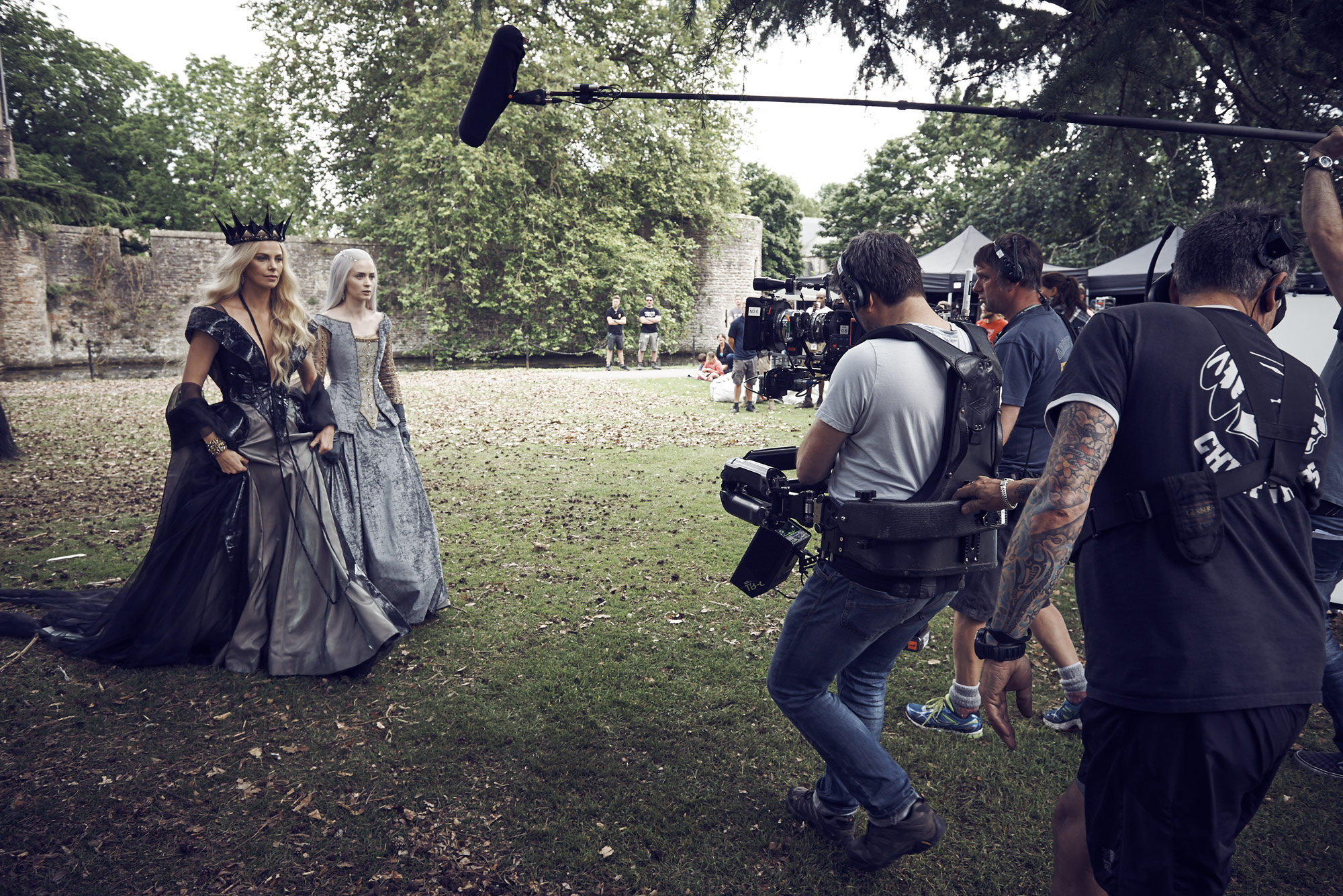 Charlize Theron and Emily Blunt on set of The Huntsman