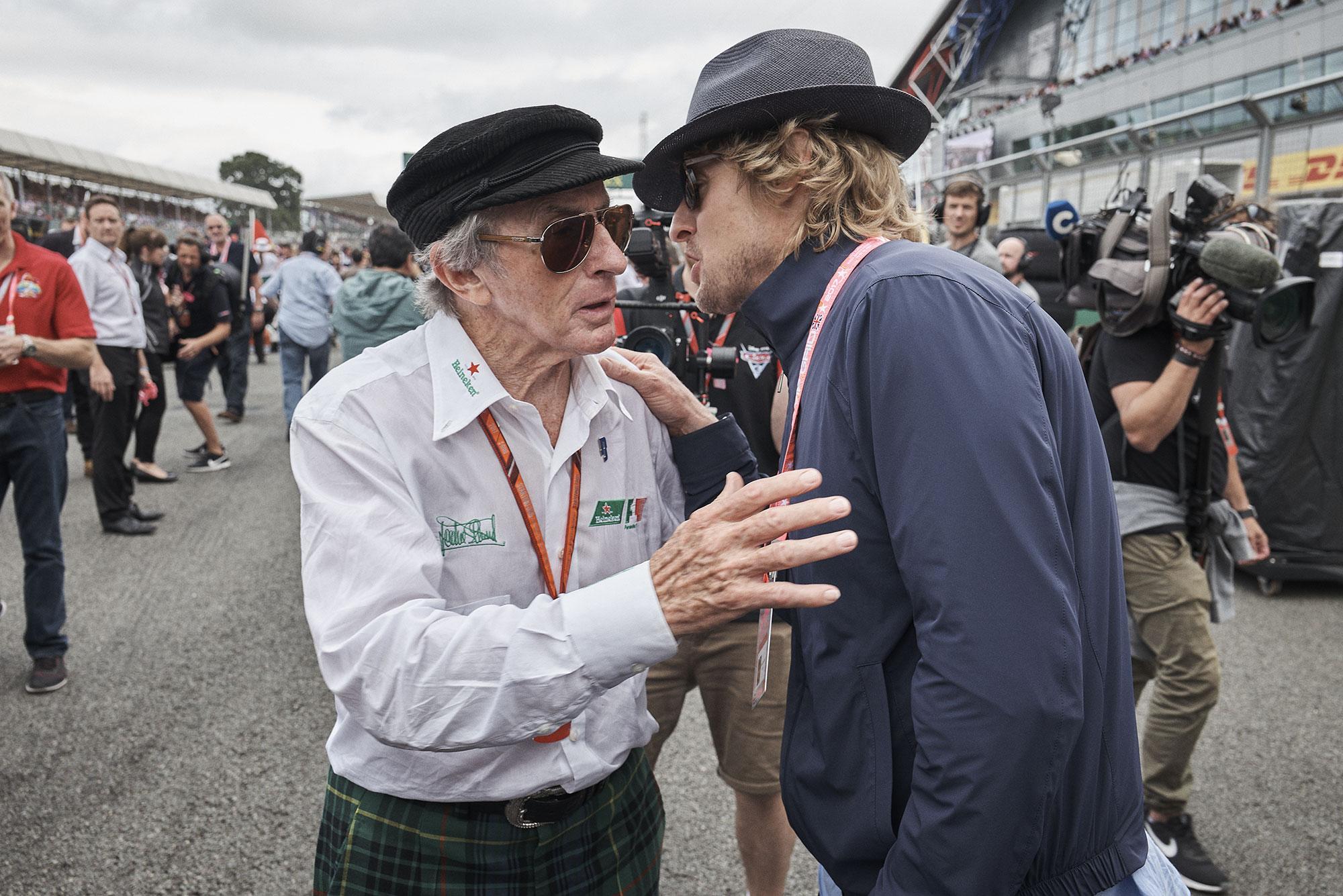 Jackie Stewart and Owen Wilson